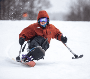 MiKayla Briere carving a nice slalom turn on her monoski